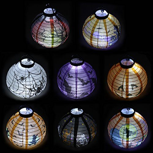 Pack of 8 Halloween Decorations Paper Lanterns with LED Light With