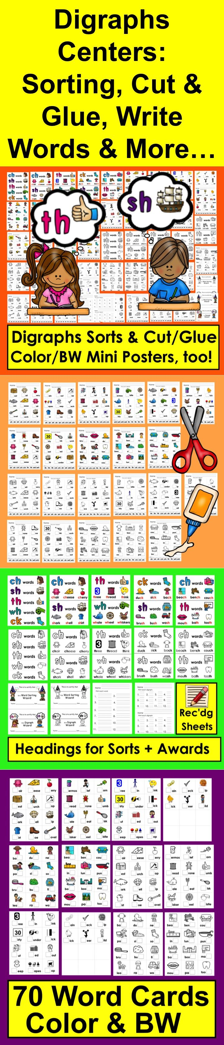 Digraphs: CH, SH, TH, WH, CK - Sorting and Cut & Glue Activities ...