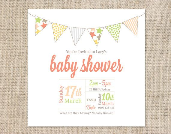 Printable Baby Shower Invitation Template - Bunting Baby shower - free templates baby shower invitations