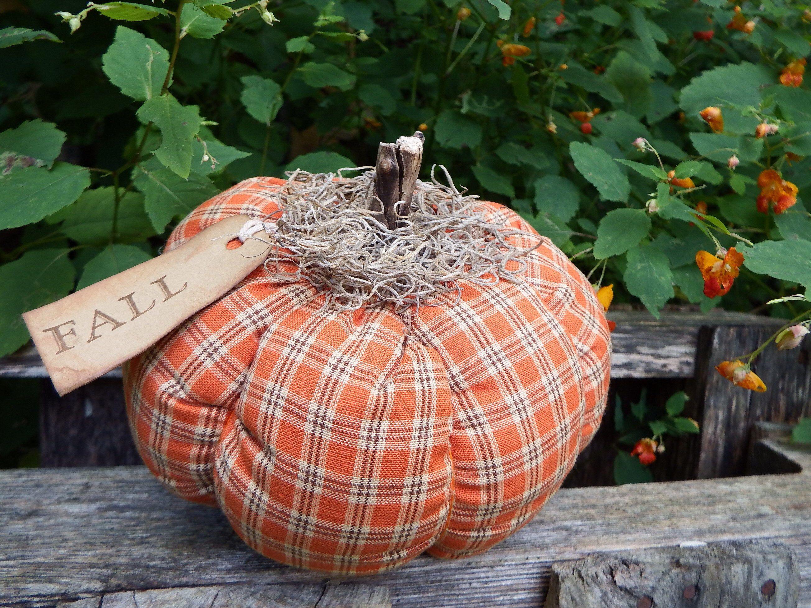 Homespun Fabric Pumpkin Home Decor Pumpkin Halloween