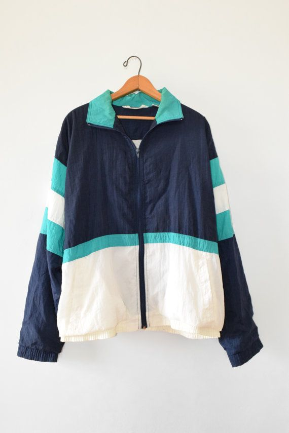 Color Block Windbreaker Size Mens Large 90s Jacket Etsy Windbreaker Clothes Color Block