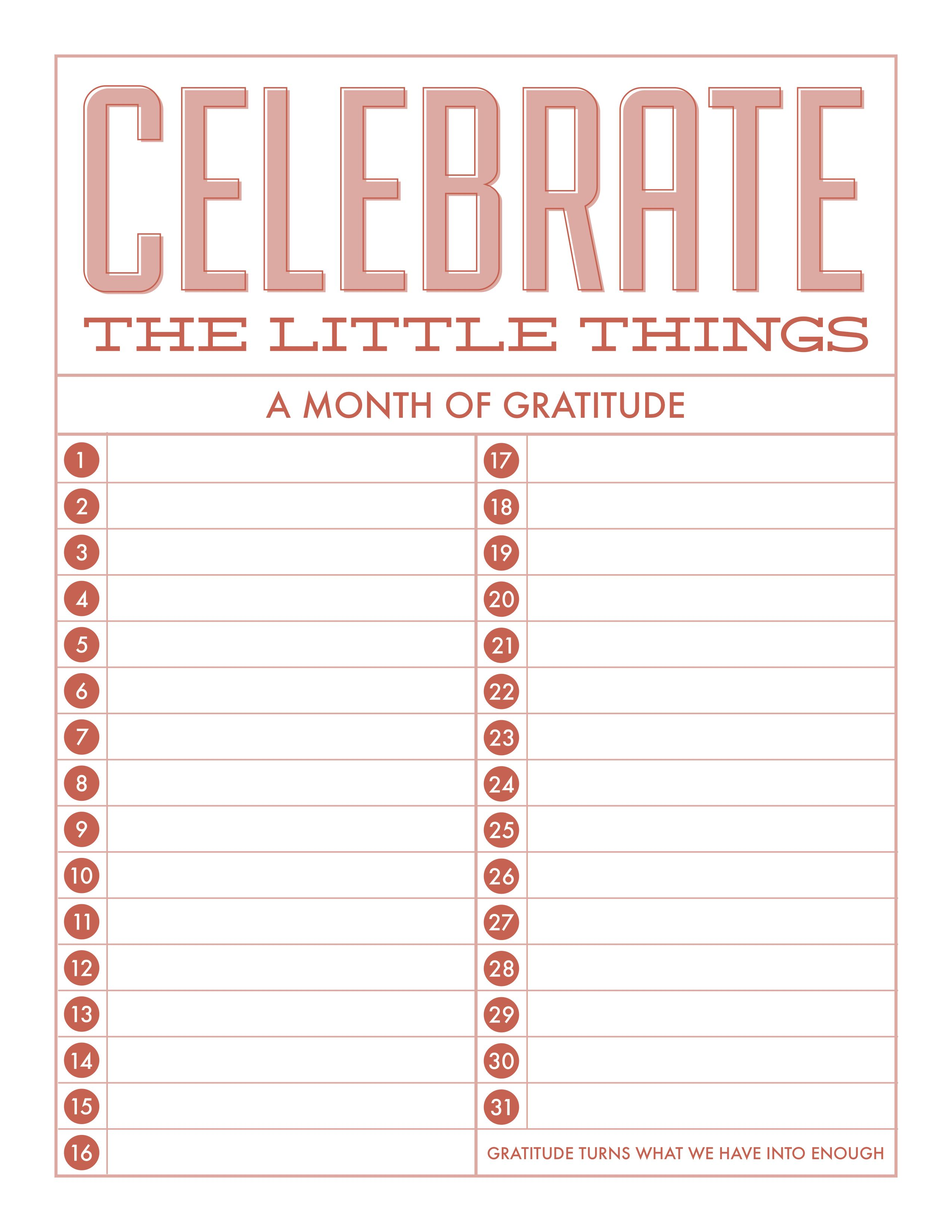 Celebrate The Little Things Freebie