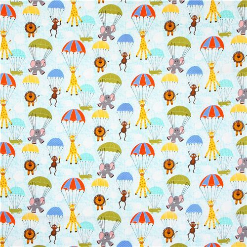 animal parachute fabric Michael Miller Hanging Out 2, modes4you.com