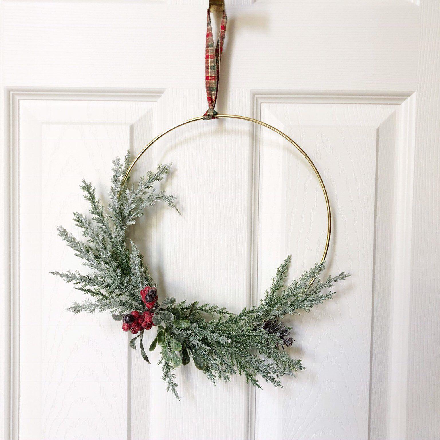 """Photo of 10 """"Christmas Hoop Wreath, Hoop Wreath, Christmas Wreath, Holly Wreath, Holyday Decor, Modern Style Wreath, Christmas Modern Wreath"""