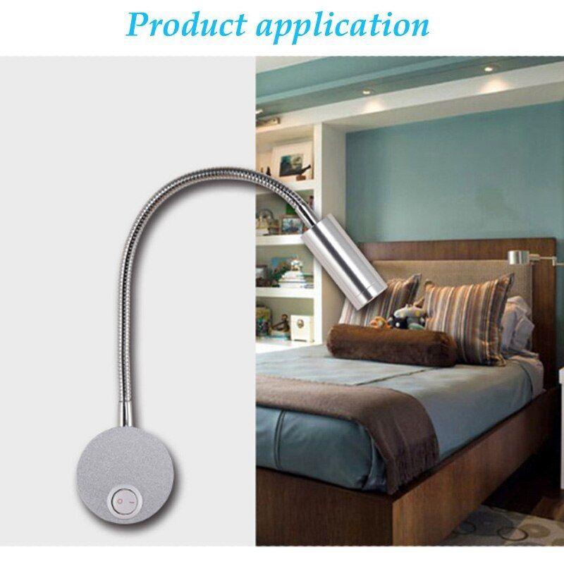 LED Flexible Hose Wall Lamp Bedside Read Light Wall Mounted Modern Fashion 1W 3W