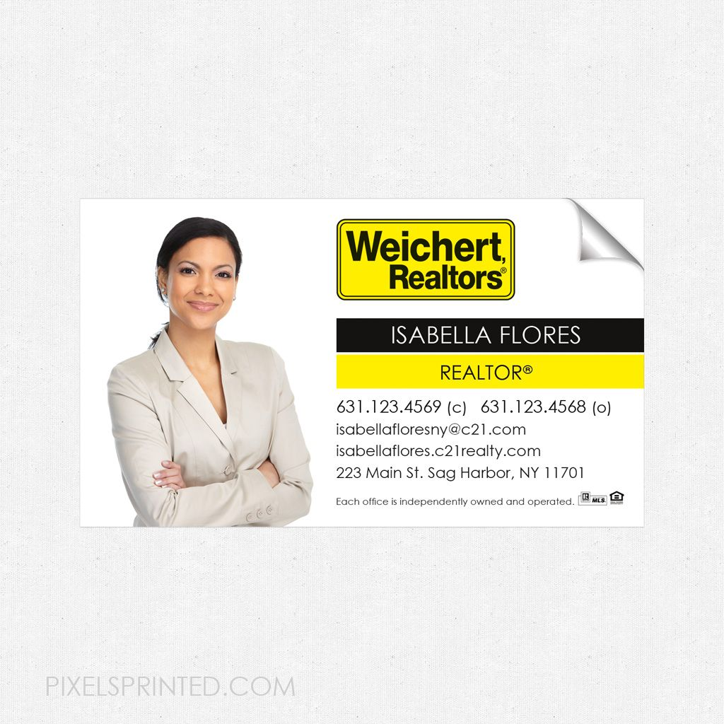 Weichert business card sticker, Weichert real estate business card ...