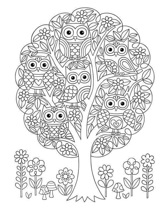 Jess Volinski. Owls in tree colouring page | Lechuzas | Pinterest ...