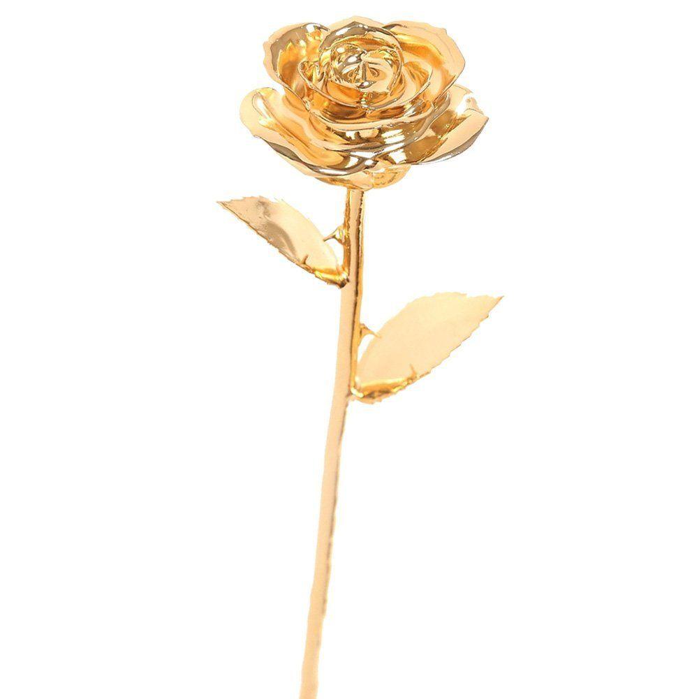 Valentine/'s Day 24k Gold Dipped Genuine Rose Long Stem Flower Love Romantic Gift