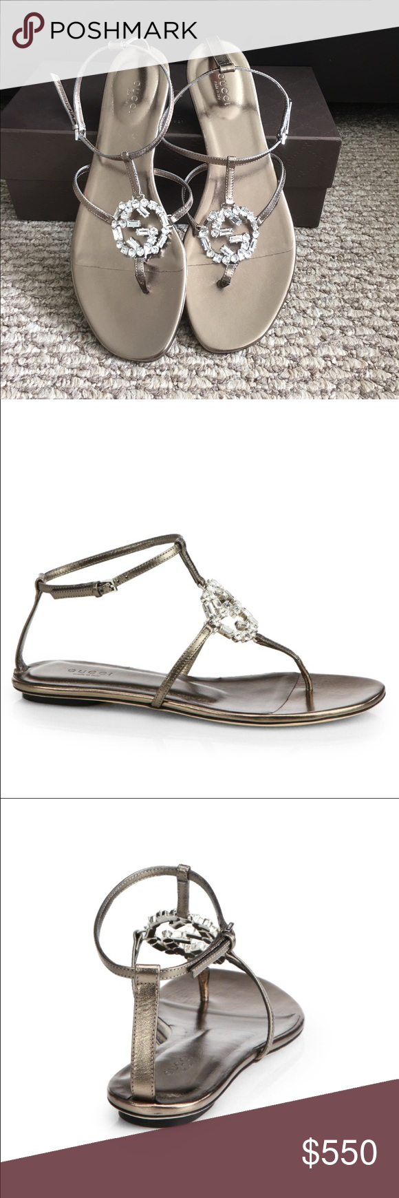 Gucci GG Crystal Sandals in Gunmetal Gucci GG Crystal T strap Sandals Size 11 in Gunmetal. A barely there sandal in sultry leather sandals flaunts a crystallized logo for unmistakable elegance. Adjustable strap with buckle closure. Leather upper/leather lining and sole. By Gucci; made in Italy. Gucci Shoes Sandals