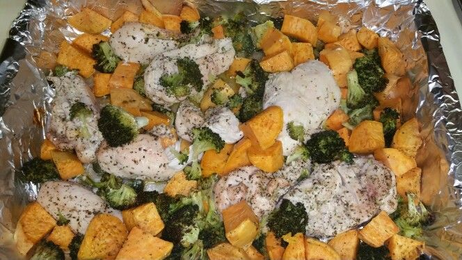 Baked Chicken and Broccoli w/ Sweet Potatoes.  Mixed in Olive oil,  Italian Seasoning, Pink Himalayan Sea Salt,  and Pepper then baked at 375°