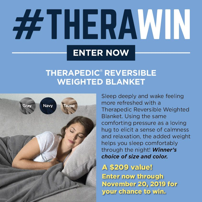 Therawin Enter For Your Chance To Win A Therapedic Reversible Weighted Blanket Weight Help Plush Throw Blankets Memory Foam Topper