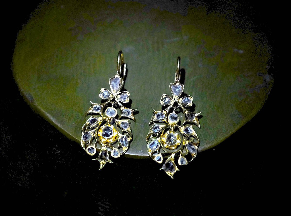 Antique small chandelier earrings set with natural diamonds in 20k antique small chandelier earrings set with natural diamonds in 20k part of straits chinese jewelry aloadofball Gallery