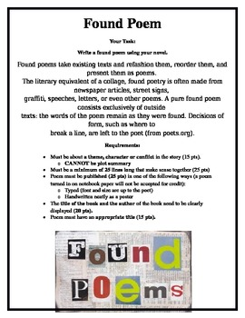 found poem alternative book report teaching found poem teaching poetry middle school writing. Black Bedroom Furniture Sets. Home Design Ideas