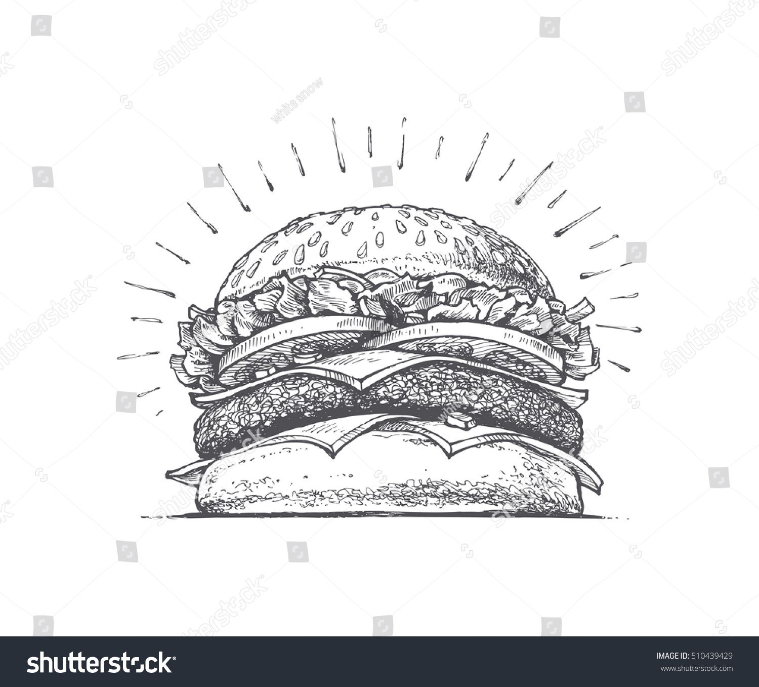 Painted Burger Great Delicious Sandwich Vector Illustration