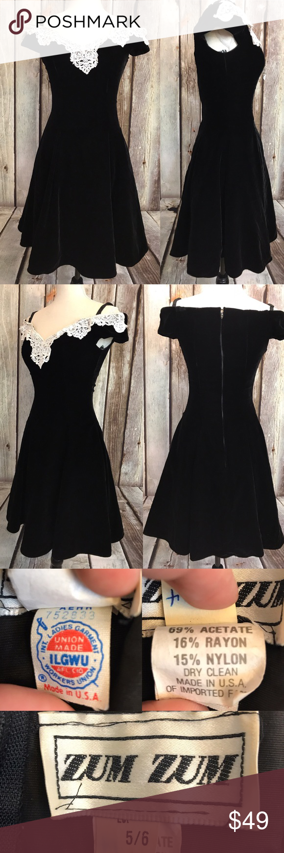 Zum zum vintage black velvet prom dress size prom dresses