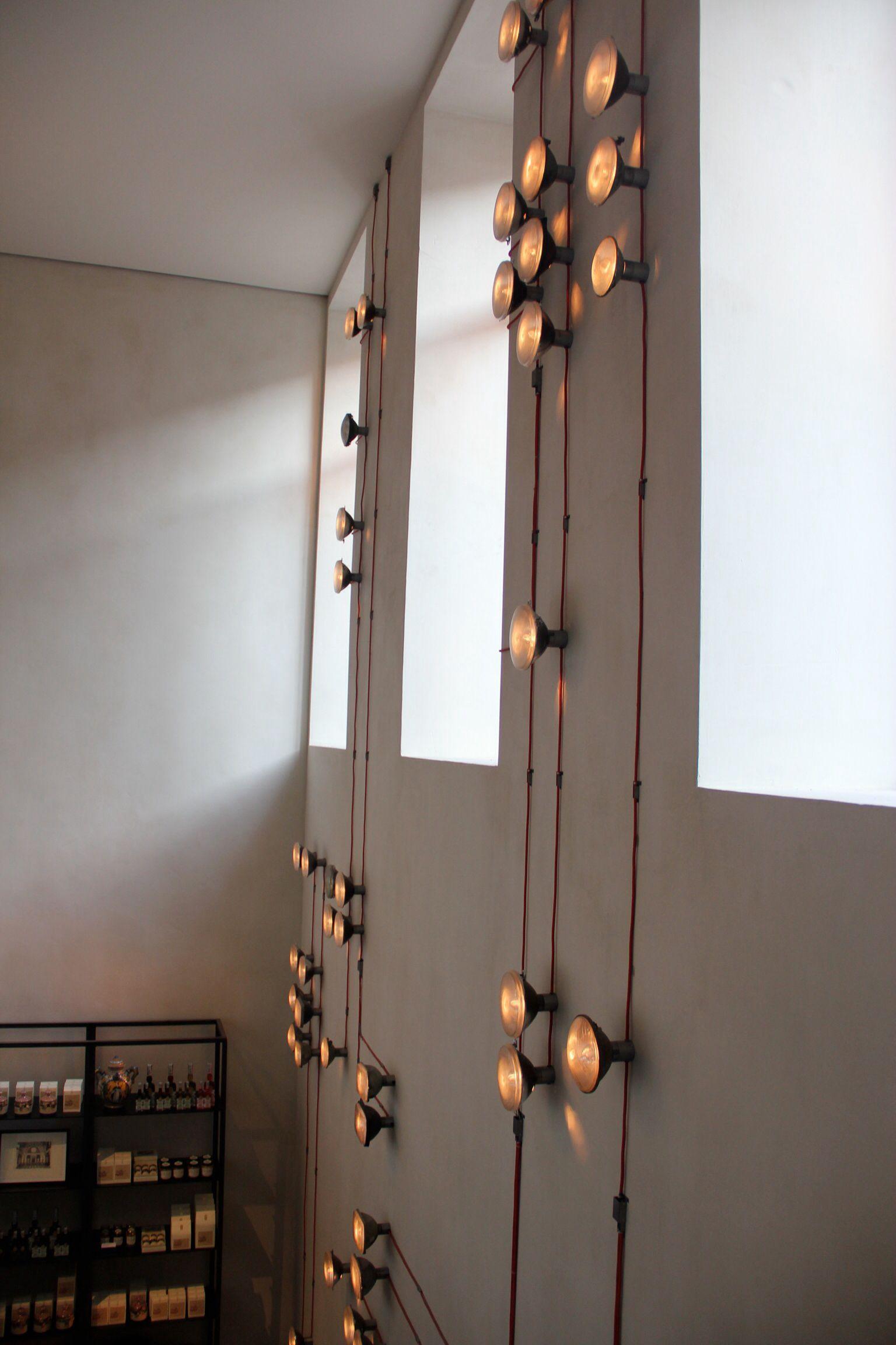 Cool wall mounted lights in Antwerp restaurant