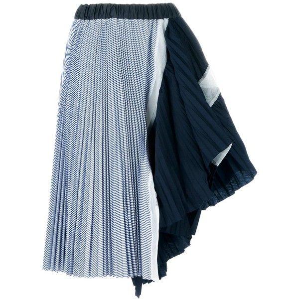 cdfdfcd35 Sacai Pleated Asymmetric Midi Skirt (€655) ❤ liked on Polyvore featuring  skirts, blue, striped pleated skirt, stripe midi skirt, striped skirt, calf  length ...