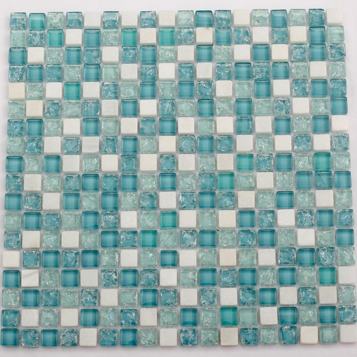 Blue Glass Mosaic Tiles Bathroom | ... tile backsplash CKMT002 blue ...