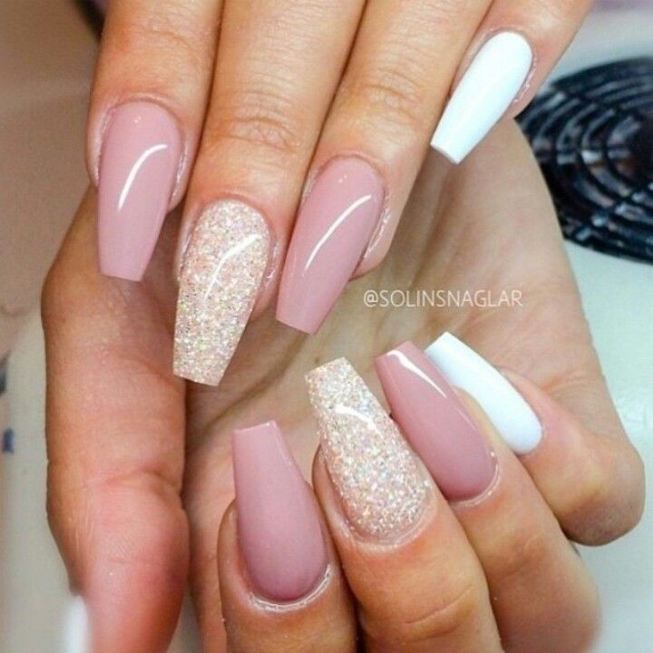 Light Pink & White Squoval Acrylic Nails w/ Glitter - Light Pink & White Squoval Acrylic Nails W/ Glitter Accent Nails