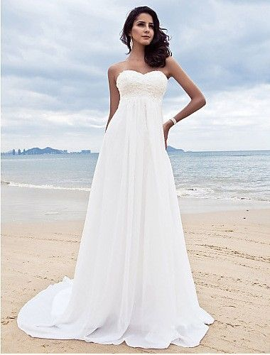 Embroidery Beading Sequins Empire Sweetheart Long Beach Wedding Dress