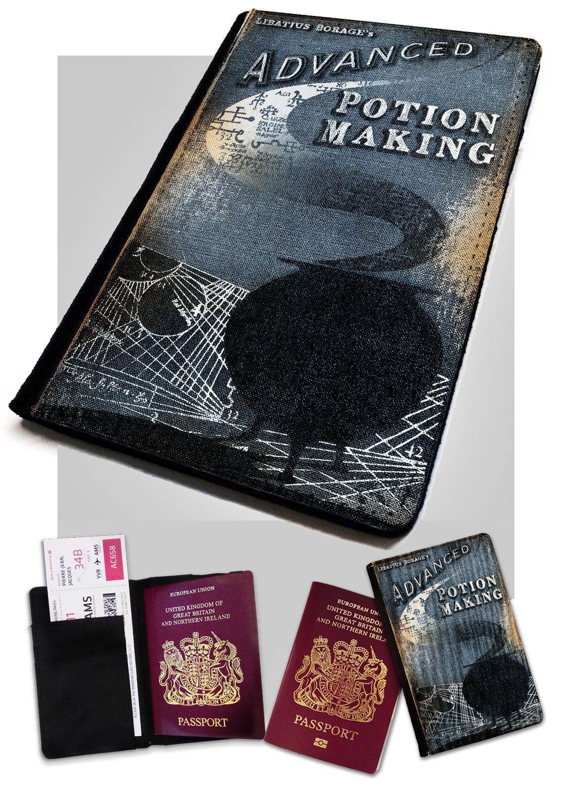 Passport Holder Advanced Potion Making Printed Faux Leather Cover Potter Style