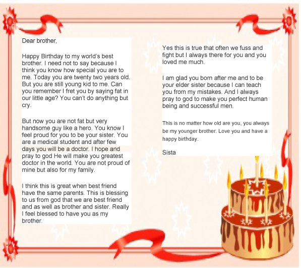Birthday Letter To Brother From Sister  Letter