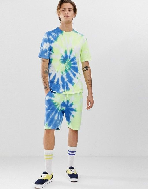 Design Knitted Tie Dye Co Ord Shorts In Blue In 2019 Asos Men