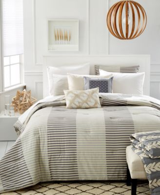 Martha Stewart Whim Collection Two Tone Stripe 5 Pc Full Queen Comforter Set