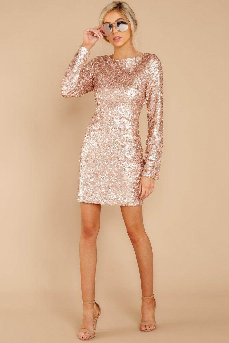 78fde9df043 Stunning Pink Sequin Dress - Metallic Long Sleeve Dress - Dress - $56 – Red  Dress Boutique