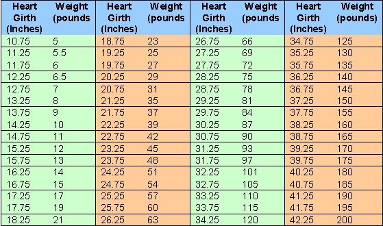 The Chart Above Lists Heart Girth Measurements And The Approximate