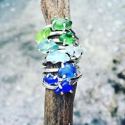 Sitka  Joleen Sohier Sea Glass Stacker - Sterling Silver Blue/Green / Accessories - 24 JEWELLERY