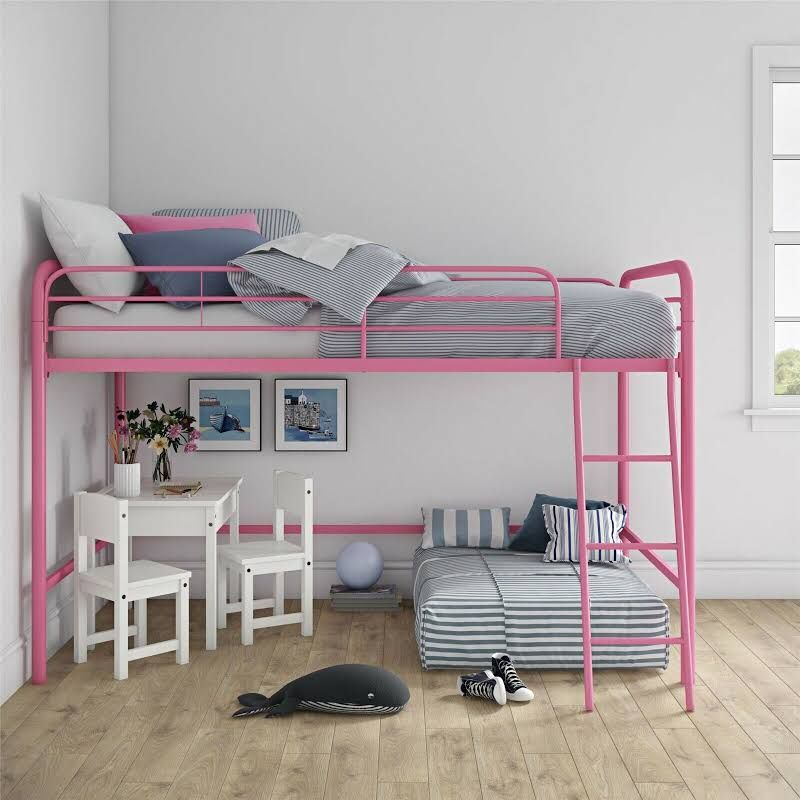 Realrooms Addison Junior Metal Loft Bed Frame Twin Size Multiple