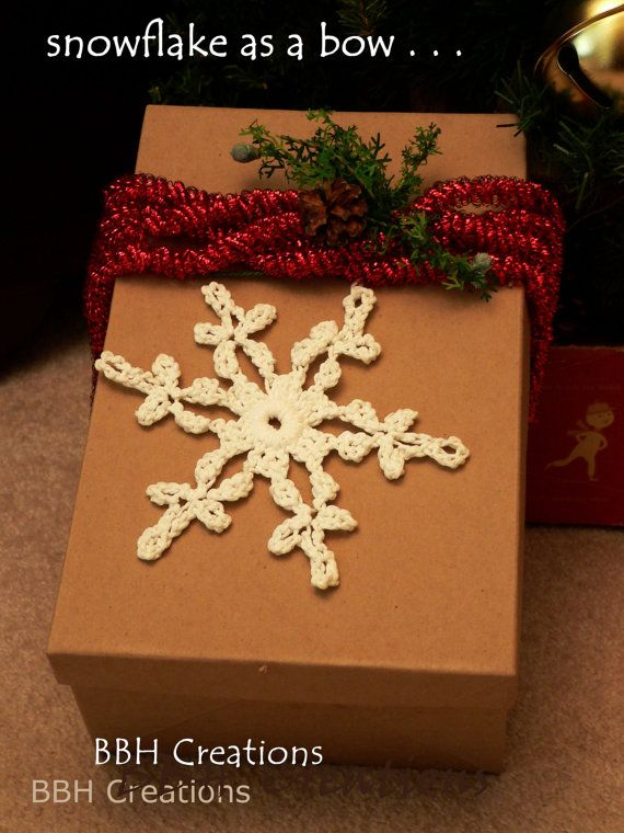 white cotton Christmas snowflake ornament  crochet by BBHCreations, $4.95