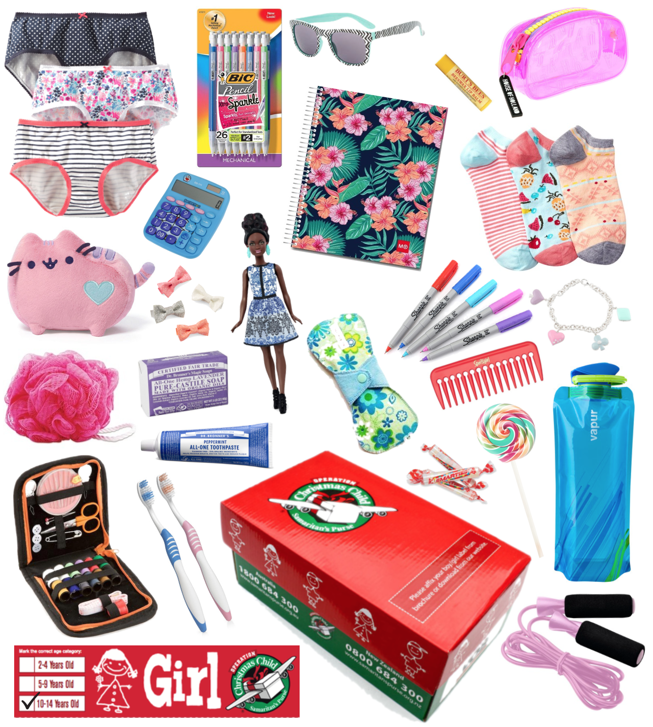 Christmas Shoe Box Appeal Ideas.Example Of A 10 14 Girl Shoebox Packed With Fun Thoughtful