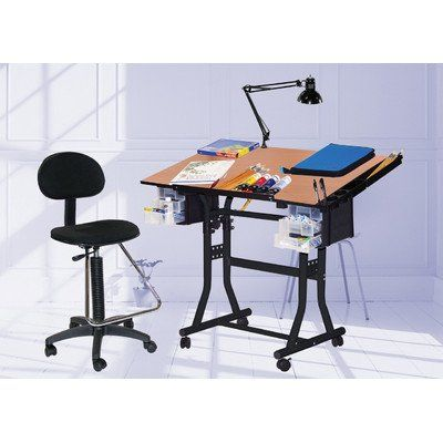 Martin Creation Station Art Hobby Table And Chair Set Black With Tiltable Cherry Top 24 Inch By 40 Inch Size Surface With Images Table And Chair Sets Hobby Table Office Chairs For Sale