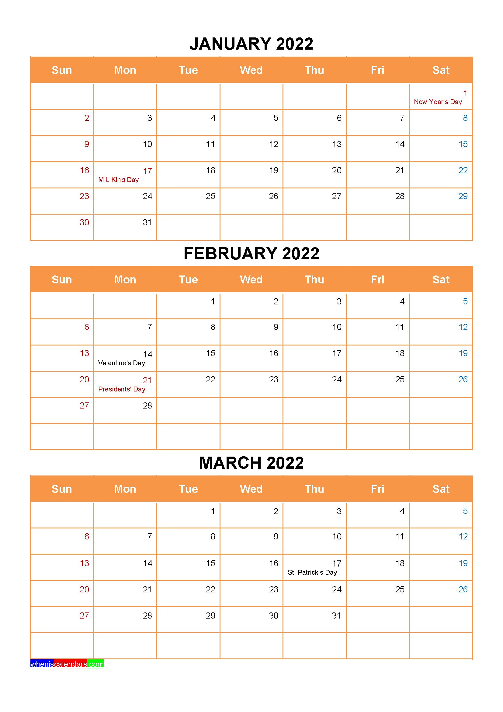 March 2022 Holiday Calendar.January February March 2022 Calendar With Holidays Printable Four Quarters Calendar Printables Printable Calendar July Holiday Words