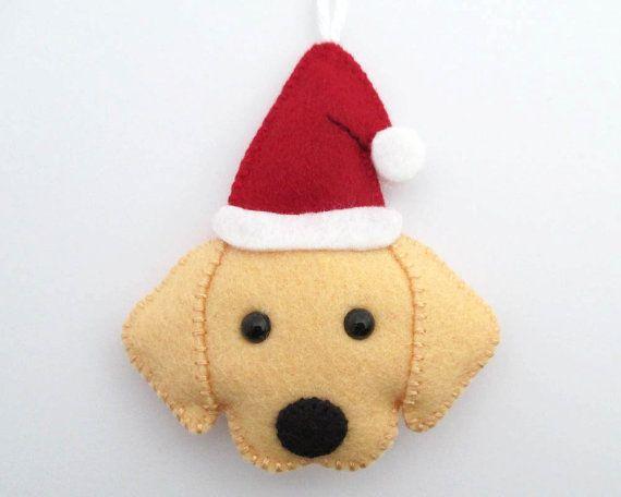 Felt Golden Retriever Ornament Santa Golden Retriever Christmas