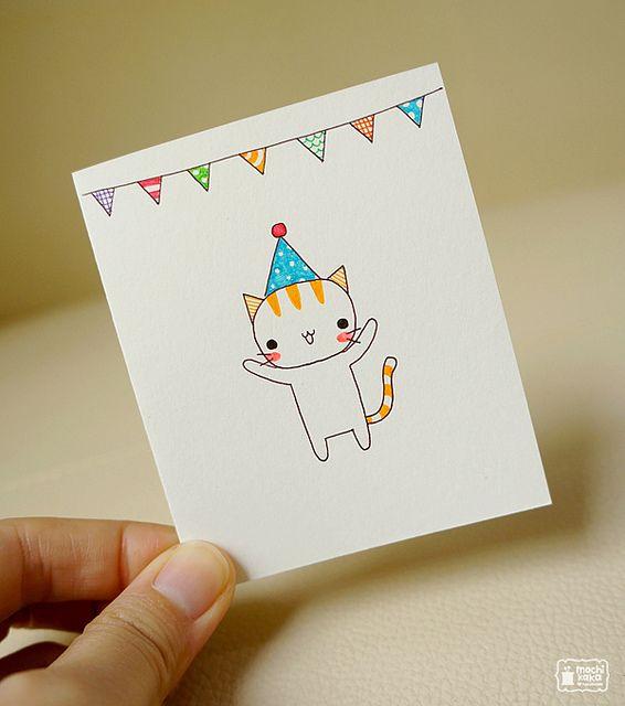 Small Card Birthday Card Drawing Cat Birthday Card Birthday Cards Diy