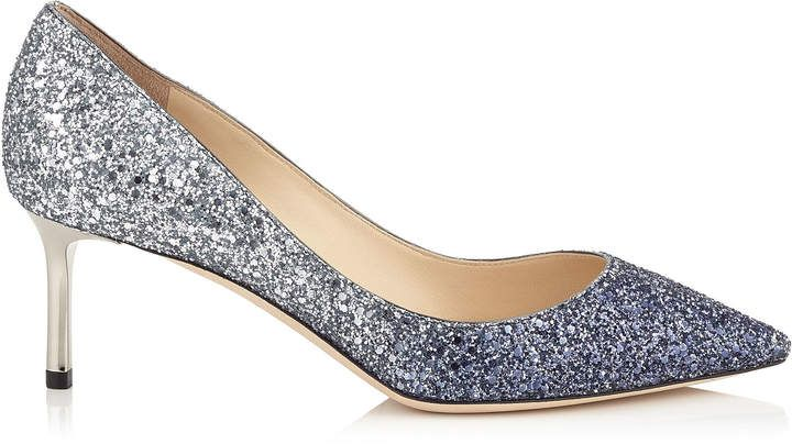 c4086150971 ROMY 60 Navy and Silver Coarse Glitter Degradé Pointy Toe Pumps ...