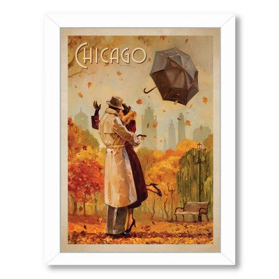East Urban Home Windy City Kiss Framed Vintage Advertisement Retro Travel Poster Travel Posters Vintage Poster Art