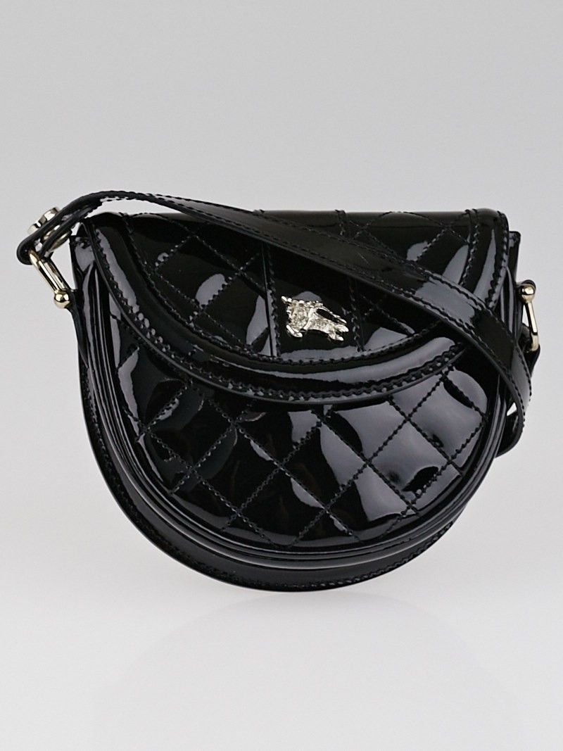 Burberry Black Quilted Patent Leather Mini Crossbody Bag Mini Crossbody Bag Crossbody Bag Leather
