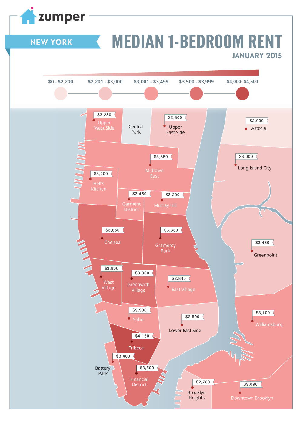Maps Show SkyHigh and Slightly Less SkyHigh Rents in NYC