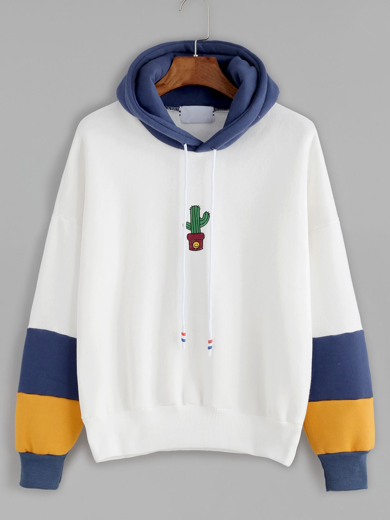 Hooded Drawstring Cactus Embroidery Sweatshirt | Cactus embroidery ...