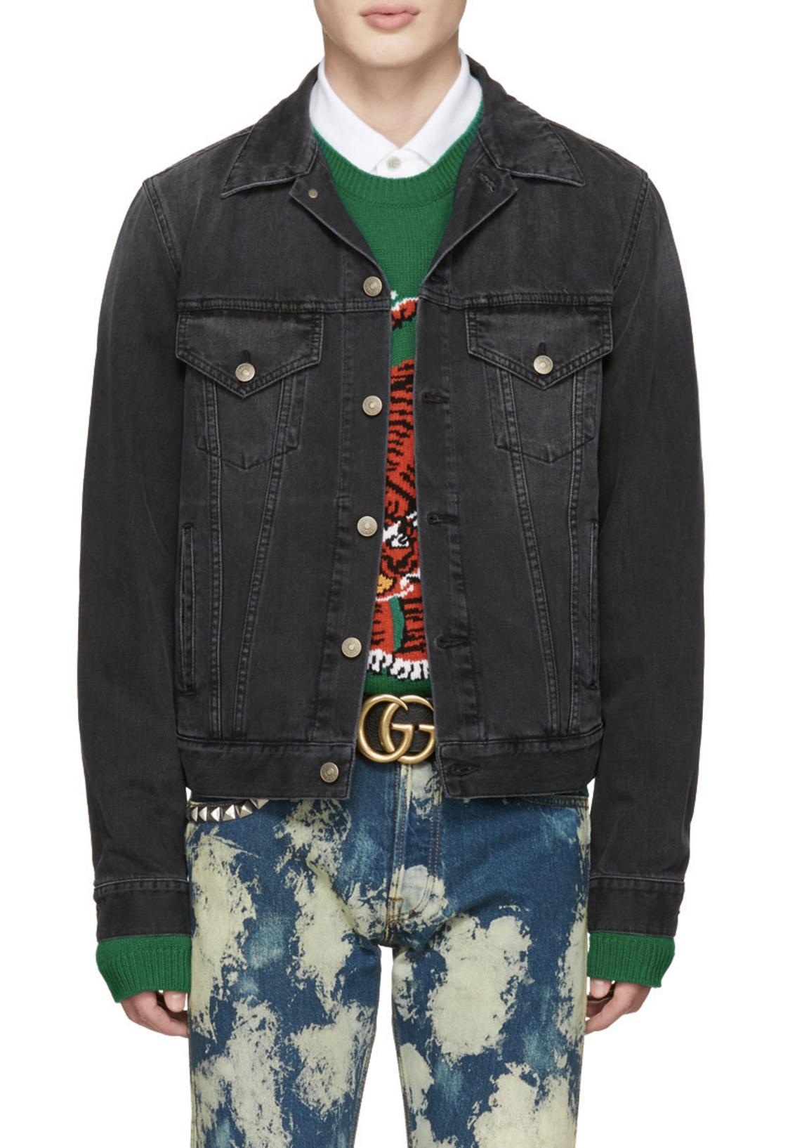 dfeb5c914 Gucci Black Denim 'L'Aveugle Par Amour' Jacket from SSENSE (men, style,  fashion, clothing, shopping, recommendations, stylish, menswear, male,  streetstyle, ...
