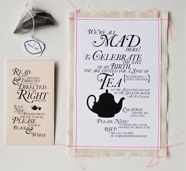Alice in Wonderland Tea Party Invitation Wording Alices Tea