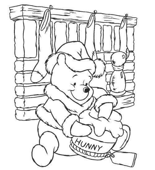 Christmas Winnie Pooh Color  Winnie pooh  Pinterest  Colouring