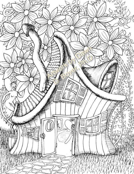 Fairy Houses And Fairy Doors Vol 3 And 4 Individual Coloring Etsy Fairy Coloring Pages Fairy Coloring Printable Coloring Book