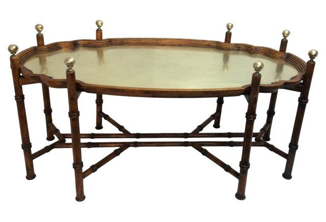 Faux Bamboo U0026 Brass Tray Table