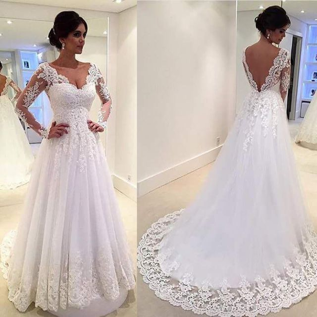 White Vintage Wedding Gowns Lace Long Sleeve Open Back A Line Sexy ...