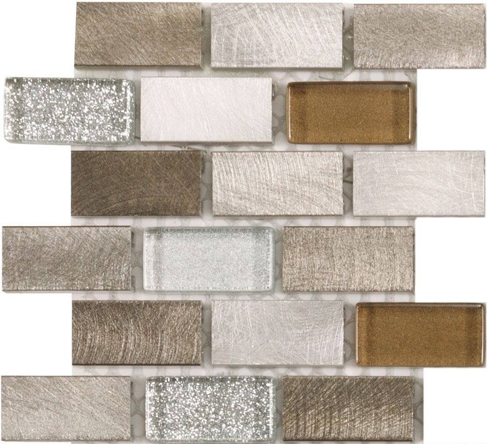 - SAMPLE* Brushed Aluminium Gray Copper & Polished Glass Mosaic